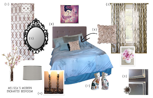 grey white blue with rose accents bedroom