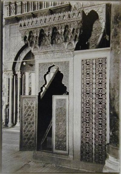 Pintu-pintu pada mimbar Shalahuddin, awal tahun 1900-an.