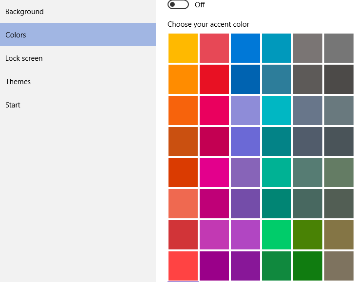 windows 8 how to change color