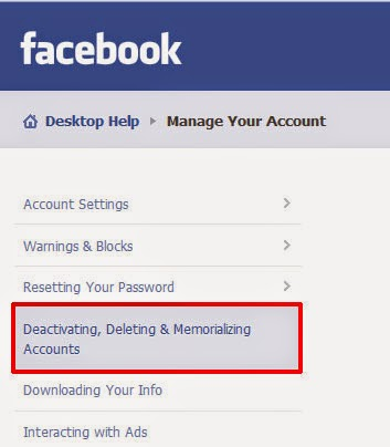 help delete facebook account