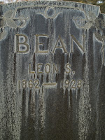 closeup of Leon Samuel Bean headstone at Oak Hill Memorial Park in San Jose CA