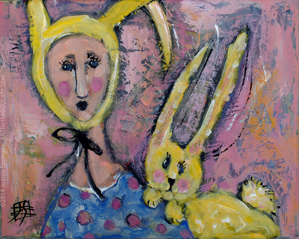 Bunny Love - bunny and girl original painting by Joanie Springer