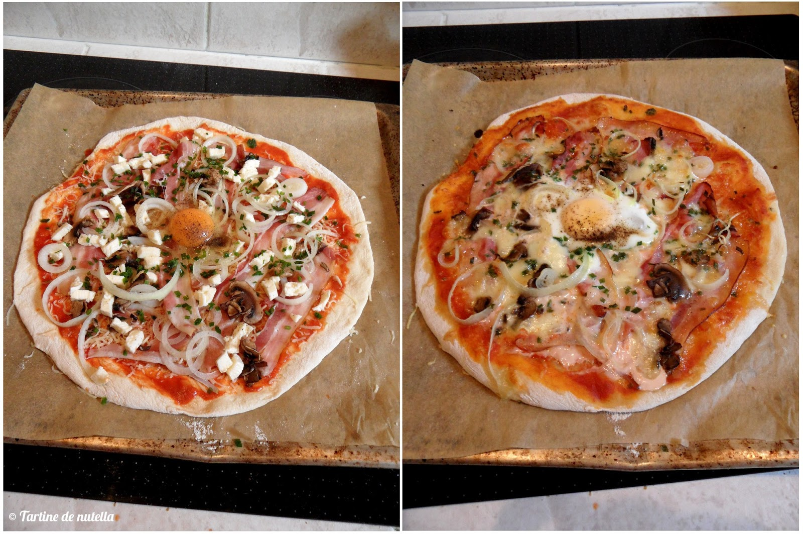 pizza jambon fum champignons et mozzarella food addict. Black Bedroom Furniture Sets. Home Design Ideas