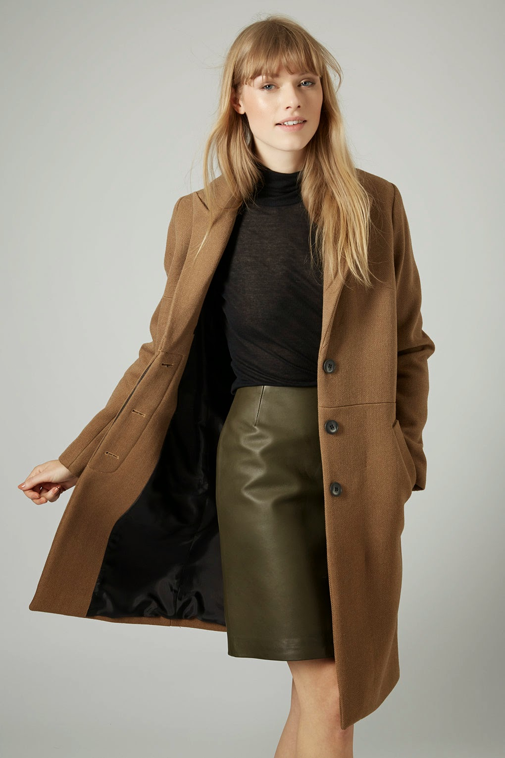 tailored camel coat,