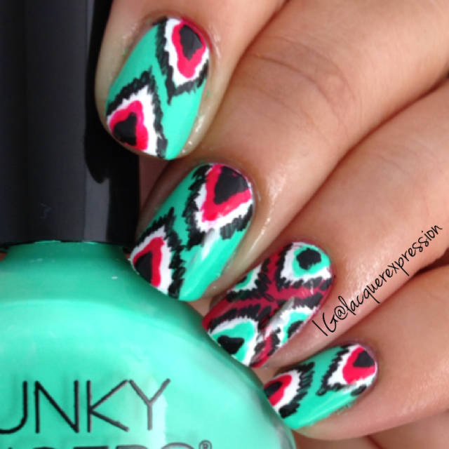 ikat nail art manicure using bizerk turq by funky fingers