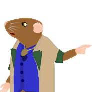 Image: Frank-the-mouse, apparently at a loss for words, points to something to his left behind him, with his left hand, while starting to make a pleading gesture with his right hand.