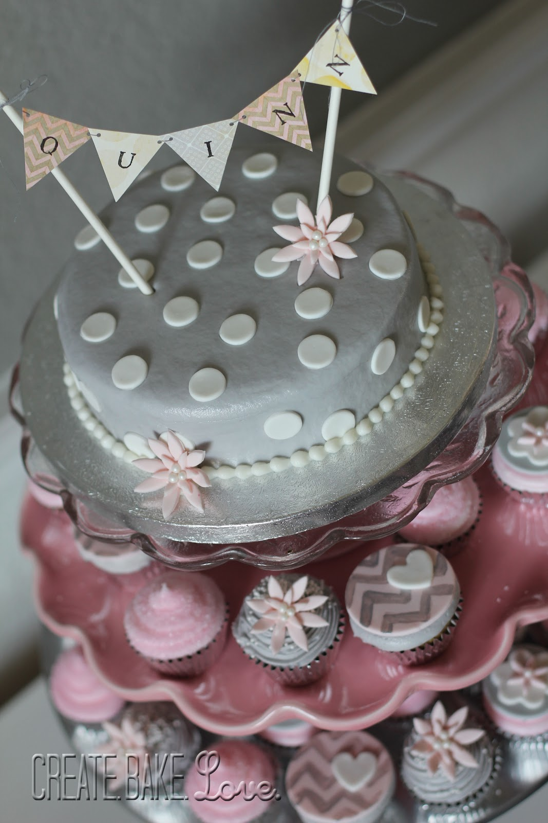 gray and pink baby shower