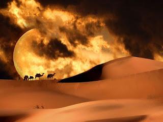 Nomades dans le désert avec poème
