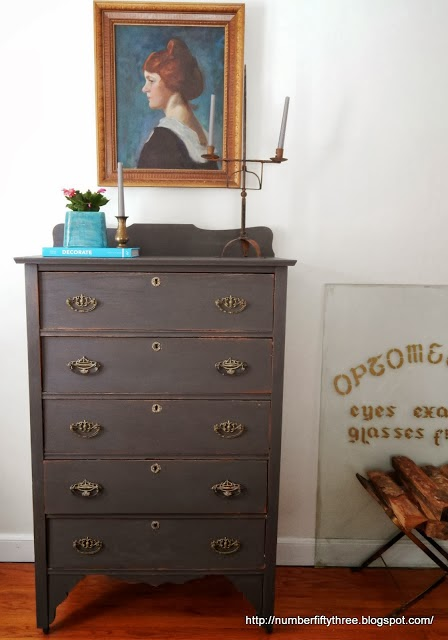 http://numberfiftythree.blogspot.com/2014/01/charcoal-gray-and-brass-antique-dresser.html