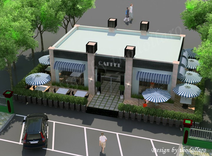 Motion design coffee shop for Exterior shop design