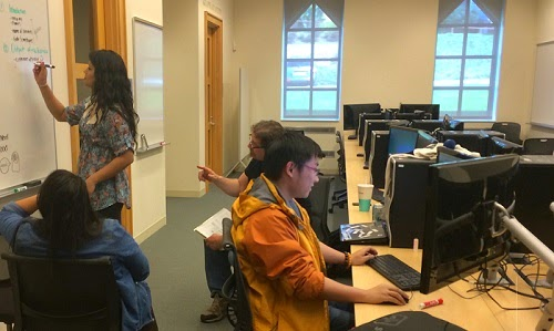 Students hard at work in the O'Grady Library Multimedia Center.