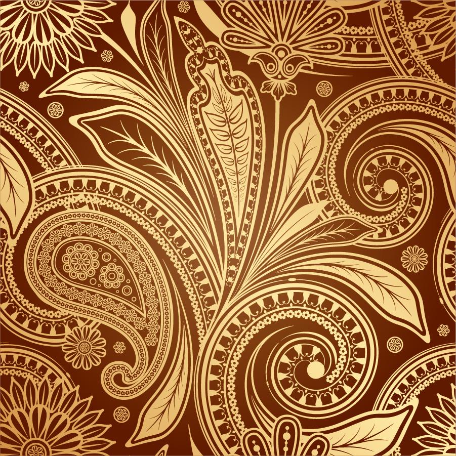 金色のペイズリー柄背景 fine paisley pattern background イラスト素材