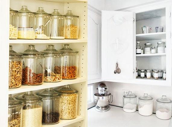 como organizar a cozinha - armários bem arrumados - pote de vidro - dicas de organização