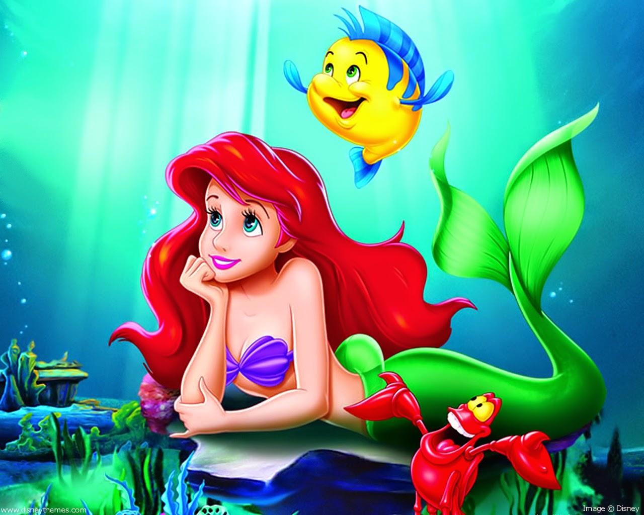 Pequena Sereia Ariel e Linguado