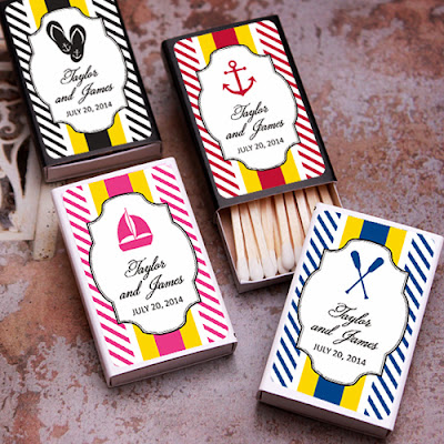 Favors and Flowers nautical stripes personalized matches