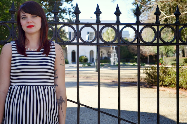 red lipstick, black and white dress, black and white striped dress, TJ Maxx dress, Forever 21 tights, bright red tights, urban outfitters shoes, urban outfitters oxfords, black oxfords, pinup style , rockabilly style