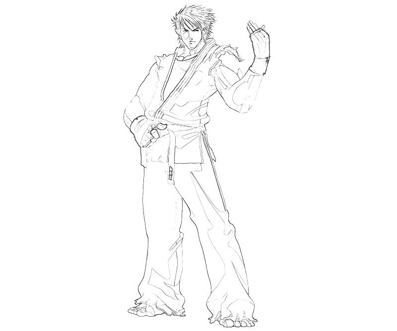 printable-king-of-fighters-ryo-sakazaki-handsome-coloring-pages