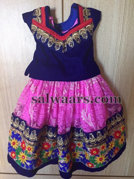 Pink and Navy Blue Lehenga