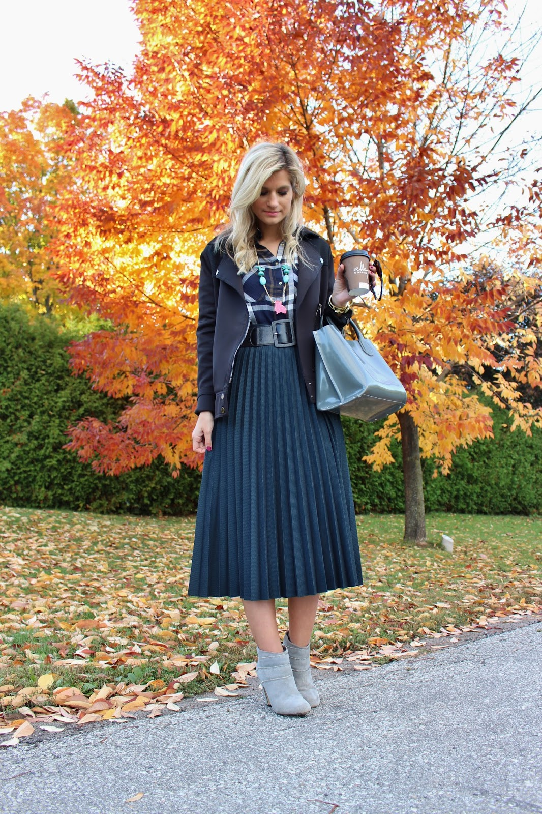 bijuleni- midi skirt, plaid blouse and jacket. Chicnbold necklace