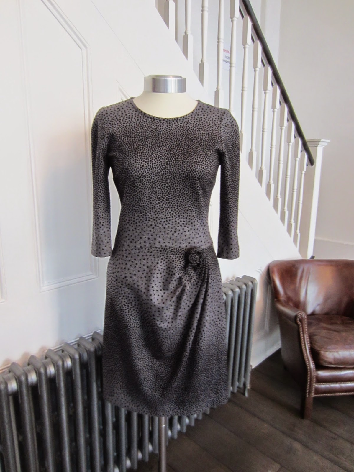 Issa Grey & Black Spotted Dress