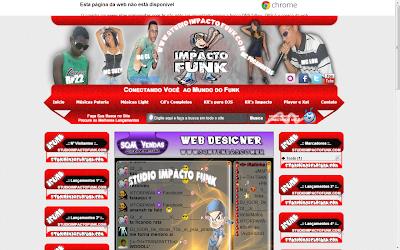 Pre-visualização do template Impacto Funk para web rádio.