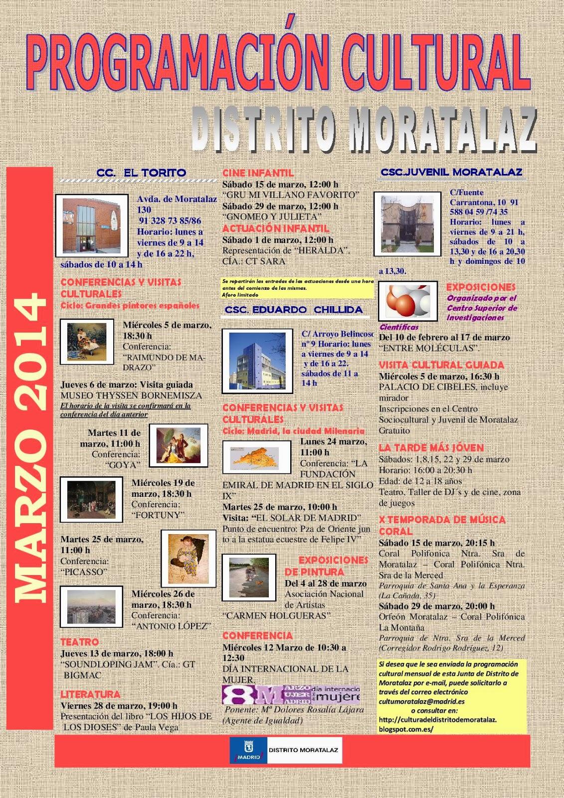 Programación cultural del Distrito de Moratalaz. Marzo de 2014.