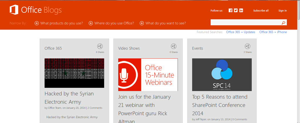 SYRIAN ELECTRONIC ARMY KEPT THEIR PROMISE, MICROSOFT'S OFFICE BLOG HACKED