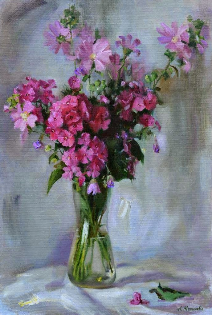 Pintura moderna y fotograf a art stica pintura de - Jarrones de cristal con flores ...