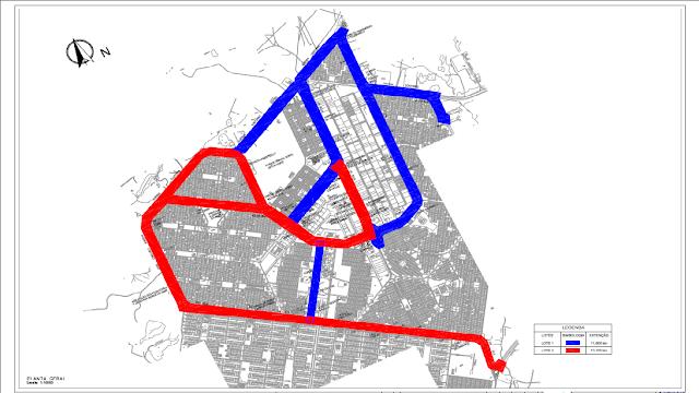 Mapa das ciclovias existentes e previstas para o Gama