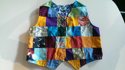 Front of patchwork waistcoast for molly and morris dancing