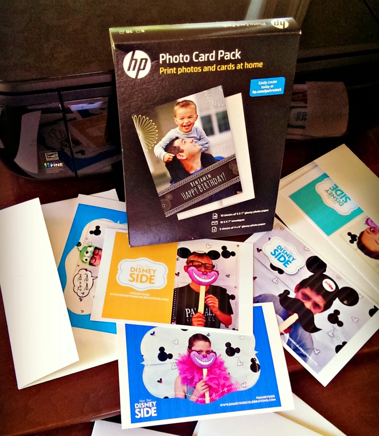printed DisneySide photo cards from HP