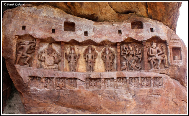 Carving in single rock at Badami