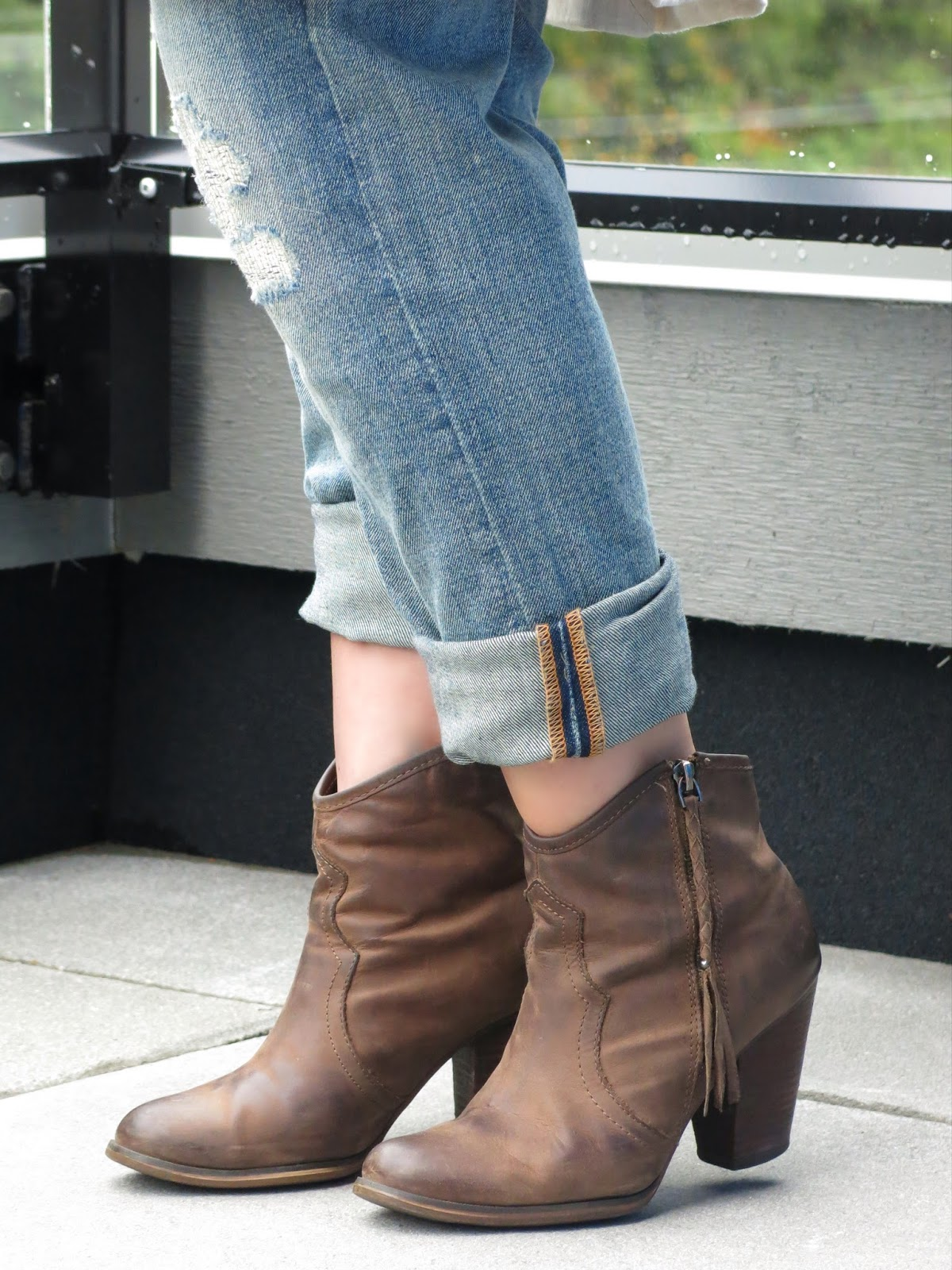 boyfriend jeans and Aldo stack-heeled ankle boots