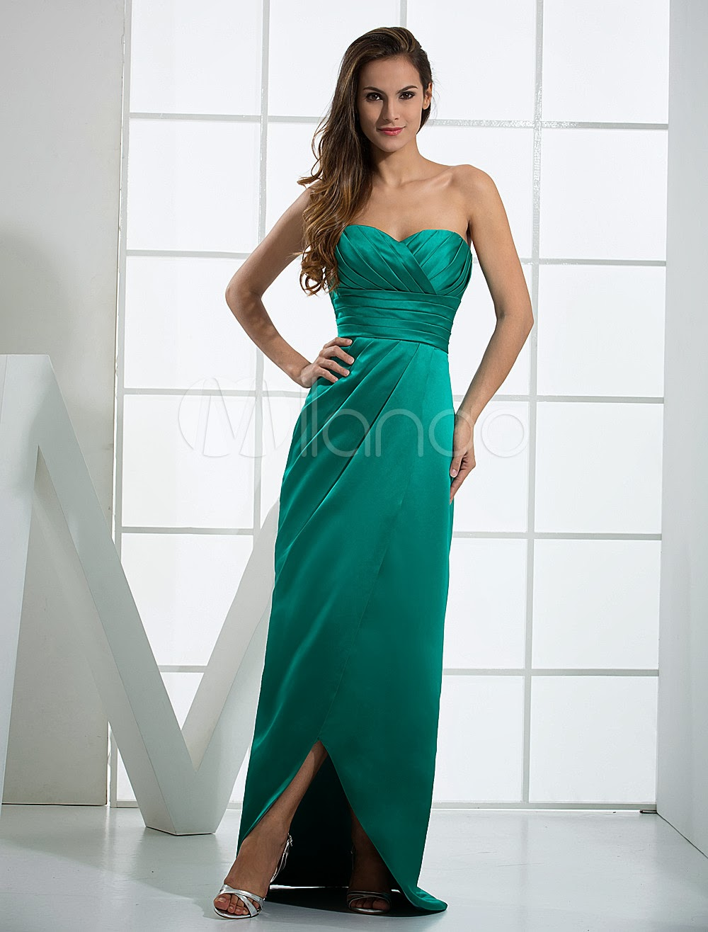 China Wholesale Dresses - Hunter Green Strapless Sweetheart Floor Length Satin Evening Dresses