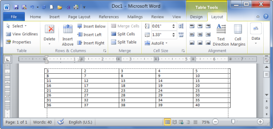 Create modify delete table ms word 2010 tutorial for Table design ms word