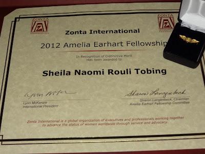 zonta amelia earhart fellowship certificate
