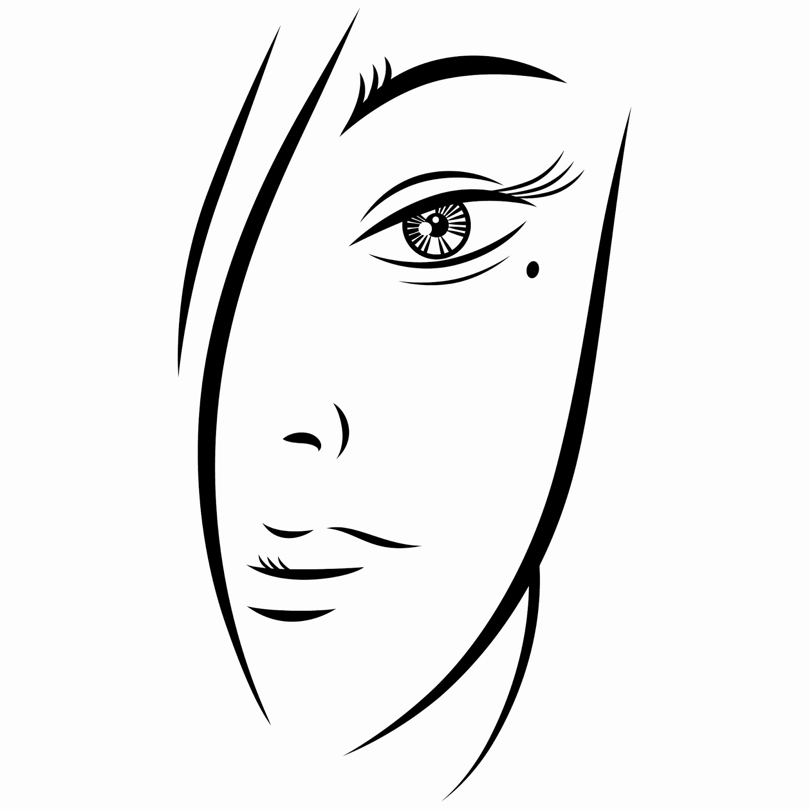 Download Free EPS Vector Illustration: Ink sketch of a person of young beautiful woman face on white background. Vector illustration clip-art design element save in 8 eps