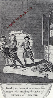 A contemporary engraving showing Colonel Blood and his accomplices making their escape after stealing part of the crown jewels from the Tower of London.