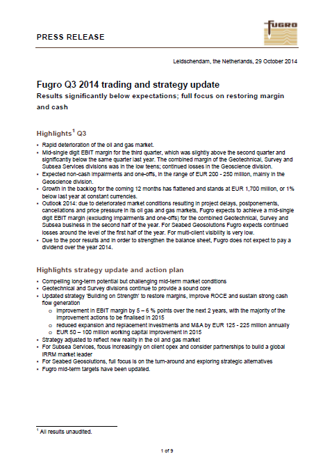 Fugro, OP, Q3, 2014, front page