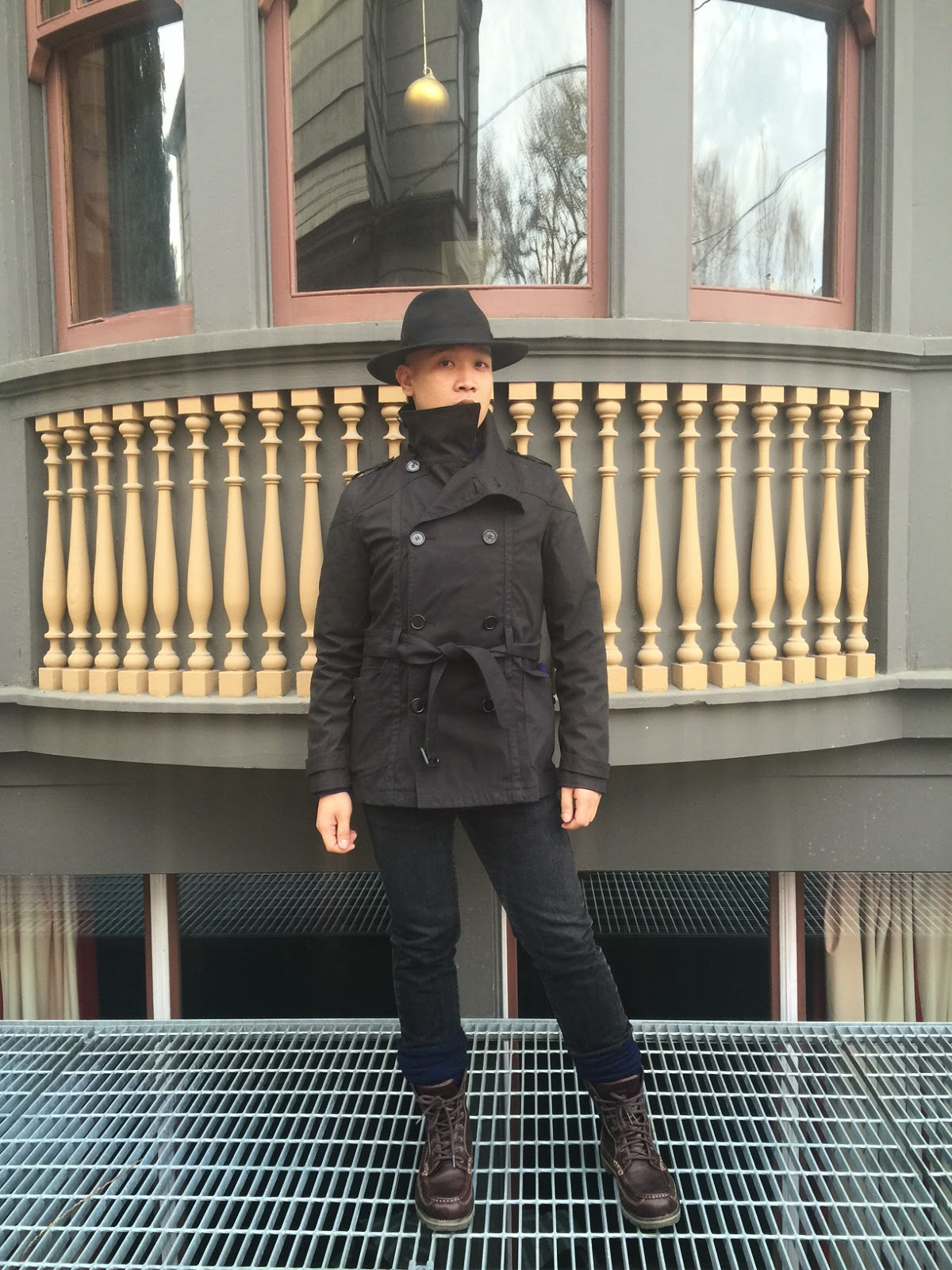 outfit of the day, portland fashion, street style, black trench coat, black hat, black boots, burgundy coat, white sweater, gray jeans, ptowngirls, portland blogger