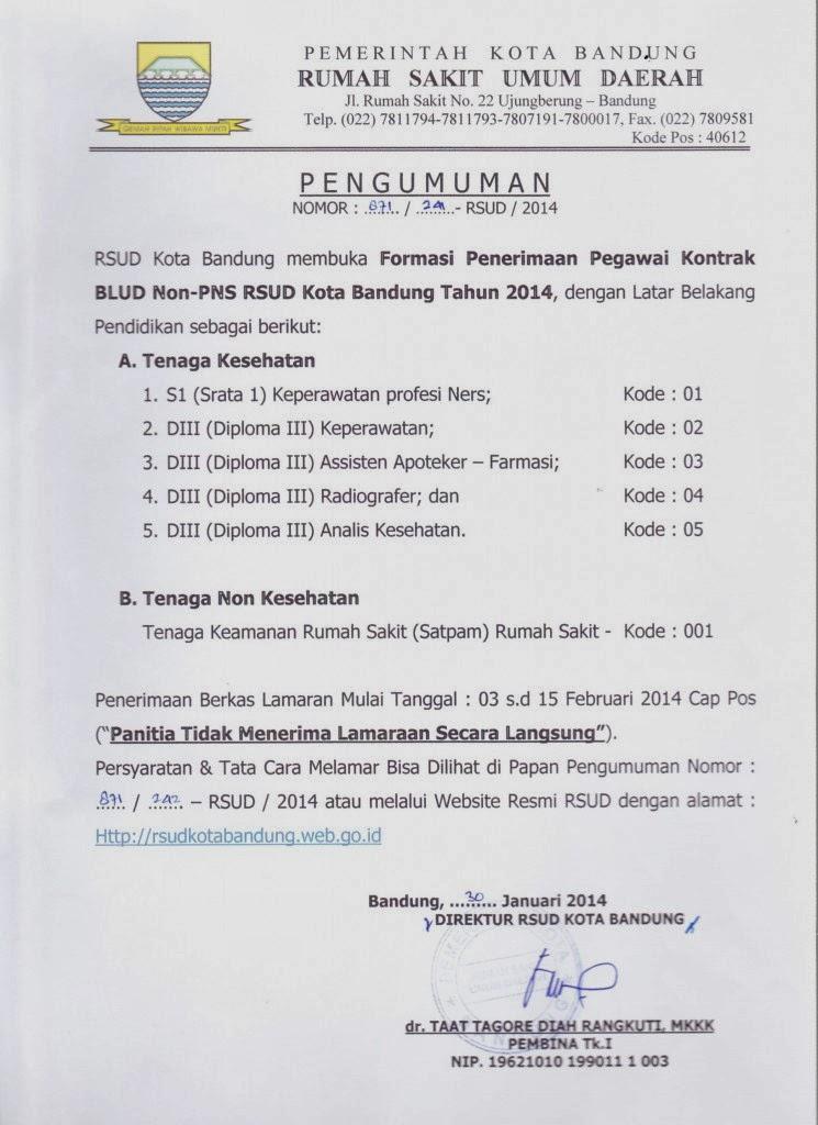 RSUD Kota Bandung membuka Formasi Penerimaan Pegawai Kontrak BLUD Non-PNS RSUD Kota Bandung Tahun 2014