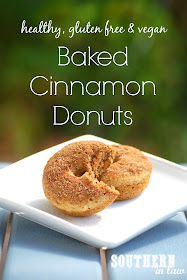 Healthy Baked Cinnamon Donuts Recipe - Gluten free, vegan, low fat, low sugar, egg free, dairy free