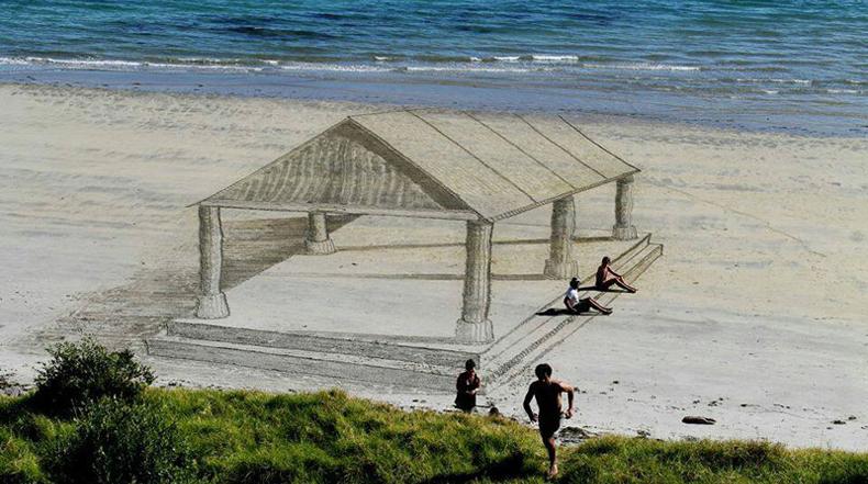 El sorprendente arte en 3D sobre la arena de playa de Jamie Harkins
