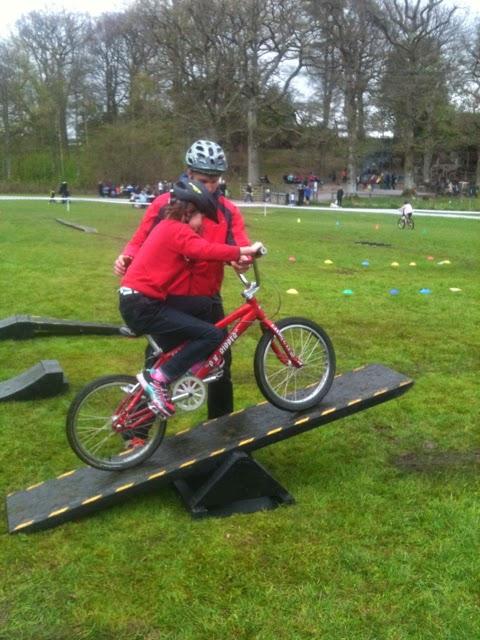 Cycle training at Brockhole wobble bridge