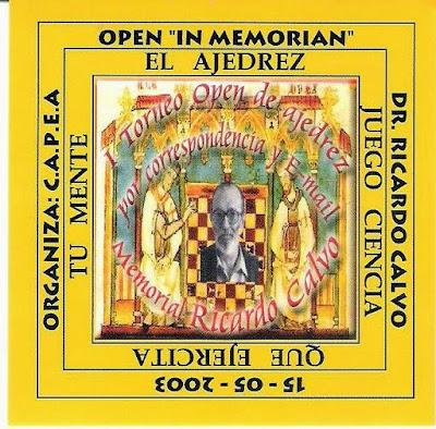 """Cartel del Open de Ajedrez Ricardo Calvo """"In Memoriam"""" en 2003"""