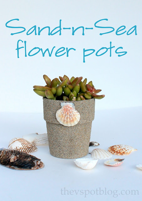 Coastal inspired flower pots and planters using sand and glue. #diy #craft