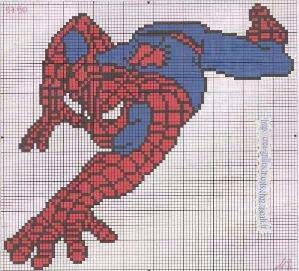 Схема вышивки крестиком человек паук 64