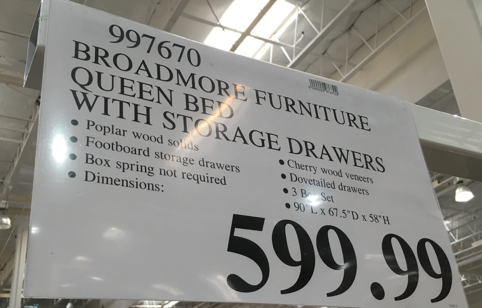 deal for the universal furniture broadmore queen bed with storage drawer at costco universal furniture