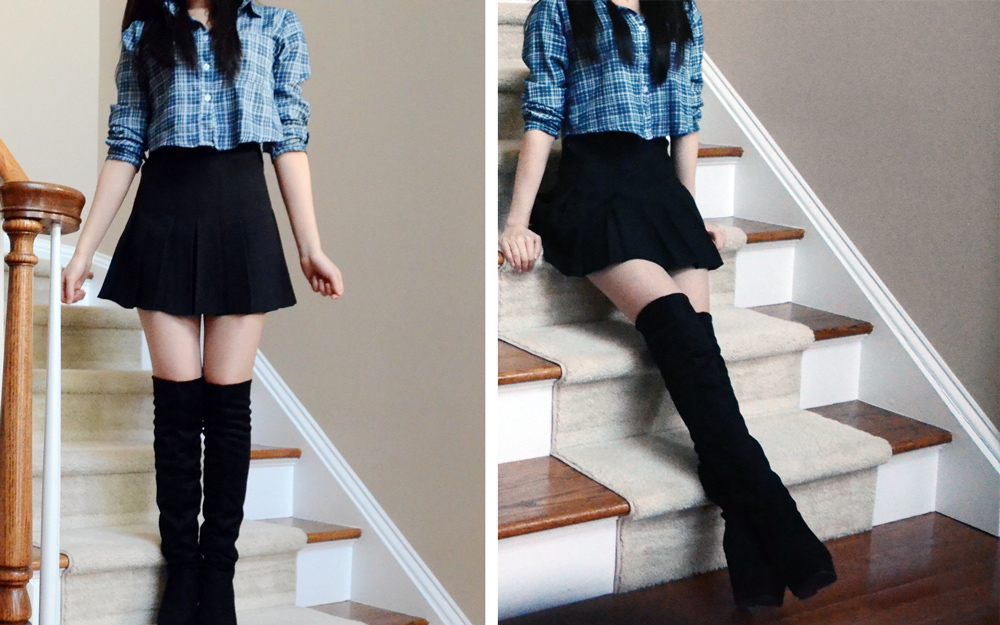 More photos of the SheInside pleated tennis skirt, modeled here with tall suede boots and a crop top.
