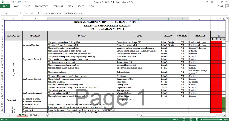 Program Tahunan Bimbingan dan Konseling SMPN 21 Malang